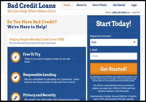 image is of badcreditloans main page