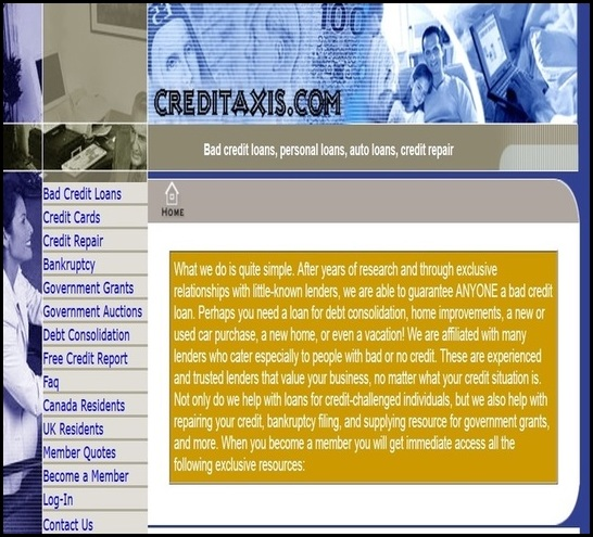 image is a picture of creditaxis.com website for bad credit loans